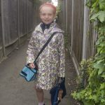 Isabel on her way to school